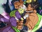 1boy 1girl abs armor ass biceps black_hair broken_armor broly_(dragon_ball_super) cheelai debris dragon_ball dragon_ball_super dragon_ball_super_broly eyebrows_visible_through_hair eyes_visible_through_hair fushisha_o grabbing green_skin hand_on_another's_head leg_wrap looking_at_viewer muscle pectorals pelt scar silver_hair spiky_hair tan