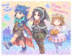 animal_ears black_hair blue_hair brown_hair butterfly_wings candy cat_ears cat_paws chibi dog_ears dog_paws eating fire_emblem fire_emblem:_akatsuki_no_megami fire_emblem:_souen_no_kiseki food ghost halloween halloween_basket halloween_costume ike lollipop mist_(fire_emblem) nintendo paws red_eyes smile soren spiky_hair sweets sword weapon wings