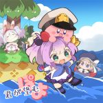 4girls =_= animal_ears ayanami_(azur_lane) azur_lane blue_eyes bow brown_hair chibi clouds commentary_request crown fake_animal_ears fishing_rod gloves green_eyes hair_bow hairband hat hat_ribbon highres hoshi_no_kirby innertube island javelin_(azur_lane) kirby kirby_(series) konachiu laffey_(azur_lane) military_hat mini_crown multiple_girls nintendo off_shoulder on_head outstretched_arms palm_tree pleated_skirt ponytail purple_hair rabbit_ears ribbon single_glove skirt standing standing_on_liquid translated tree water waves white_hair z23_(azur_lane) |_|
