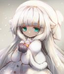 1girl capelet clenched_hands flower gloves green_eyes hair_flaps hat long_hair looking_at_viewer merry_milk nijisanji rose snowing very_long_hair virtual_youtuber white_flower white_hair white_rose winter_clothes yk_ksdh4582