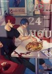 2boys black_shirt blood blood_on_shoes bloody_fork bloody_knife blue_eyes blue_hair booth cherry contemporary dd_(vktr4837) diner fate_(series) food fork french_fries fruit hamburger ice_cream knife koha-ace looking_at_another major_matou male_focus menu mori_nagayoshi_(fate) multiple_boys redhead sharp_teeth shirt shoes sneakers spiky_hair sundae table teeth wavy_hair white_shirt window