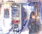 1girl bag bookbag bow bowtie breath brown_eyes brown_hair coat cowboy_shot daito gloves ground_vehicle hair_ornament hairclip hand_in_pocket keychain long_hair original scarf skirt snow snowing solo train train_station