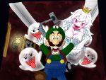 1boy 1girl absurdres blue_eyes blush boo breasts brown_hair chasing cleavage collarbone commentary_request crown dress elbow_gloves facial_hair fleeing frilled_dress frills ghost_pose gloves hat highres large_breasts long_hair long_tongue luigi luigi's_mansion mario_(series) mini_crown mustache new_super_mario_bros._u_deluxe nintendo open_mouth pale_skin poltergust_3000 portrait_(object) princess_king_boo reacyua resaresa scared sharp_teeth super_crown suspenders teeth tongue tongue_out vacuum_cleaner violet_eyes wall_lamp white_dress white_gloves white_hair