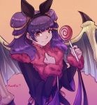 1girl ana_rui animal_ears artist_name bat_ears candy closed_mouth dragon_wings fake_animal_ears fang fire_emblem fire_emblem:_seima_no_kouseki fire_emblem_heroes food fur_trim halloween_costume highres lollipop long_hair long_sleeves mamkute multi-tied_hair myrrh nintendo purple_hair red_eyes simple_background solo twintails upper_body wings