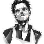 1boy absurdres beard black_hair cigarette facial_hair glasses gokushufudou greyscale highres looking_at_viewer male_focus monochrome mustache qqyy8rf9k sketch solo sunglasses upper_bod