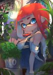1girl bangs bare_shoulders blue_eyes blunt_bangs breasts cleavage closed_mouth collarbone denim expressionless hand_in_pocket highres inkling inkling_(language) kashu_(hizake) light_rays looking_at_viewer medium_breasts monster_girl nintendo off_shoulder orange_hair overalls plant pointy_ears potted_plant shade shirt short_eyebrows short_hair_with_long_locks short_sleeves sidelocks sideways_glance sign signature solo splatoon standing table tablecloth tentacle_hair thick_eyebrows white_shirt