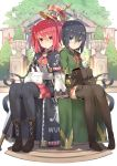 2girls absurdres animal animal_on_lap bag black_hair blue_eyes boots eyebrows_visible_through_hair highres isegawa_yasutaka looking_at_viewer multiple_girls novel_illustration original pleated_skirt rabbit red_eyes redhead short_hair short_twintails sitting skirt smile staff thigh-highs thigh_boots twintails
