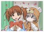 2girls :d alternate_hairstyle animal_costume artist_name bandage bangs bear_costume bear_hood bedroom blue_shirt boko_(girls_und_panzer) brown_eyes brown_hair closed_mouth commentary dated eyebrows_visible_through_hair girls_und_panzer hair_ribbon heart holding holding_stuffed_animal indoors light_brown_hair long_hair long_sleeves looking_at_another looking_at_viewer multiple_girls nishizumi_miho nyororiso_(muyaa) onesie open_mouth pajamas ribbon shimada_arisu shirt short_hair short_twintails signature smile stuffed_animal stuffed_toy twintails