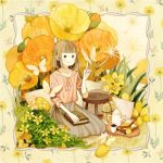 1girl bangs blunt_bangs blush book book_on_lap bread brown_eyes brown_hair brown_skirt bug butterfly butterfly_on_finger closed_mouth coffee_pot cup cushion dandelion_seed floral_background flower food fruit hand_up insect orange orange_flower orange_slice original pink_shirt poppy_(flower) seiza shirt short_hair sitting skirt smile solo somemachi tray yellow_flower
