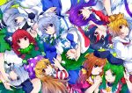 6+girls :3 :o :q ;) ;d american_flag_dress animal_ear_fluff animal_ears arm_up bangs black_bow black_hair black_hairband black_hat black_ribbon blonde_hair blouse blue_dress blue_eyes blue_neckwear blue_skirt bob_cut bow braid breasts brown_hair cat_ears clownpiece collarbone commentary_request covering_mouth dress eyebrows_visible_through_hair frog_hair_ornament green_background green_bow green_dress green_eyes green_hair green_ribbon green_vest hair_between_eyes hair_bow hair_ornament hair_ribbon hair_tubes hairband hand_holding hands_up hat head_tilt highres horns ishimu izayoi_sakuya jester_cap kaenbyou_rin kijin_seija kochiya_sanae konpaku_youmu large_breasts long_hair long_sleeves looking_at_viewer maid maid_headdress medium_breasts mononobe_no_futo multicolored_hair multiple_girls neck_ribbon neck_ruff necktie nishida_satono one_eye_closed open_mouth parted_lips pink_dress pink_eyes polka_dot_hat pom_pom_(clothes) ponytail profile puffy_short_sleeves puffy_sleeves purple_hair purple_hat purple_sash rabbit_ears red_dress red_eyes red_neckwear red_sailor_collar redhead reisen_udongein_inaba ribbon sailor_collar shirt short_hair short_hair_with_long_locks short_sleeves silver_hair simple_background single_sidelock skirt smile snake_hair_ornament streaked_hair striped striped_dress teireida_mai tongue tongue_out toramaru_shou touhou twin_braids twintails upper_body upside-down vest white_blouse white_dress white_hair white_shirt wide_sleeves wing_collar yellow_bow yellow_eyes