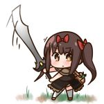 1girl bag bangs blush bow brown_dress brown_eyes brown_footwear brown_hair chibi closed_mouth commentary_request dress eyebrows_visible_through_hair hair_between_eyes hair_bow hana_kazari holding holding_sword holding_weapon huge_weapon long_hair looking_at_viewer original red_bow shoulder_bag solo standing sword thigh-highs twintails very_long_hair weapon white_background white_legwear