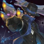 1boy afterimage aiming alternate_costume black_hair broken_glass bullet_hole commentary_request covered_mouth dated fedora fourth_wall glass gun handgun hat hat_over_one_eye high_collar jojo_no_kimyou_na_bouken lens_flare_abuse mccree_(overwatch) mystery_man_mccree overwatch parody pistol pointing pointing_forward red_eyes revolver scarf shell_casing short_hair solo_focus squidsmith stand_(jojo) star_platinum waistcoat weapon