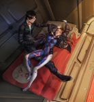 1boy 1girl absurdres bandaid_on_forehead bed black-framed_eyewear black_hair blue_eyes breasts brown_hair commentary_request covered_navel d.va_(overwatch) dae-hyun_(overwatch) full_body glasses gloves headphones headphones_around_neck highres jacket jim_dez lips long_hair looking_at_viewer lying lying_on_person medium_breasts nose on_back open_clothes open_jacket overwatch pillow pilot_suit shooting_star_d.va whisker_markings white_gloves