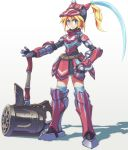 1girl armor bangs blonde_hair blue_eyes full_body hair_between_eyes hammer hand_on_hip helmet hermitaur_(armor) huge_weapon monster_hunter plume red_armor simple_background skirt solo standing weapon white_background yuusuke_(5yusuke3)