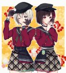 2girls adjusting_clothes adjusting_hat aoba_moka aqua_eyes bang_dream! black_choker black_gloves black_hair black_hat black_neckwear bob_cut choker double-breasted eyebrows_visible_through_hair floral_background gloves grey_hair grin half_gloves hand_on_own_cheek hat long_sleeves lost_one_no_goukoku_(vocaloid) mitake_ran mizukikushou multicolored_hair multiple_girls neckerchief one_eye_closed outline plaid plaid_skirt pleated_skirt red_shirt redhead school_uniform serafuku shirt short_hair single_glove skirt smile streaked_hair violet_eyes vocaloid white_outline