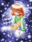 1girl angel_wings cat closed_eyes commentary_request dated denim english feathers green_sweater halo jeans light_smile orange_eyes orange_hair original pants shiny shiny_hair signature snow socks sweater v-neck wings zan_nekotama