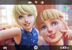 2girls blonde_hair blue_eyes c0rros1on cheek_poking child commentary english_commentary freckles hair_ornament hairclip highres mole mole_under_eye multiple_girls original parted_lips poking siblings sisters sleeveless smile tongue tongue_out viewfinder