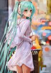 1girl :o alternate_costume aqua_eyes aqua_hair backpack bag blurry blurry_background blush breasts car casual city feet_out_of_frame from_behind ground_vehicle hair_between_eyes hair_tie hatsune_miku headphones highres long_hair long_sleeves looking_at_viewer looking_back medium_skirt motor_vehicle open_mouth outdoors see-through shirt skirt small_breasts solo standing takepon1123 trash_can twintails twitter_username very_long_hair vocaloid white_shirt white_skirt