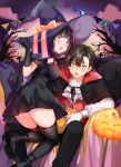 1boy 1girl black_cape black_dress black_eyes black_footwear black_gloves black_legwear cape chitanda_eru couple dress feet_out_of_frame full_body gloves green_eyes halloween hat hetero highres hyouka jack-o'-lantern long_hair looking_at_viewer mery_(apfl0515) oreki_houtarou pumps purple_sky thigh-highs tree vampire violet_eyes wavy_hair witch_hat