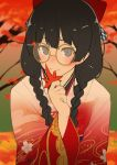 1girl autumn autumn_leaves black_eyes black_hair blush bow checkered checkered_bow commentary eyebrows_visible_through_hair hair_bow hair_ornament hairclip japanese_clothes kimono leaf long_hair looking_at_viewer nuezou original raised_eyebrows red_bow smile solo yellow-framed_eyewear