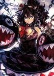 :d absurdres bangs bare_shoulders black_dress black_eyes black_hair borrowed_design breasts chain_chomp character_print commentary_request crown dress grin hair_between_eyes hands_up high_ponytail highres kaamin_(mariarose753) long_hair looking_at_viewer mario_(series) new_super_mario_bros._u_deluxe nintendo no_eyebrows open_mouth parted_bangs princess princess_chain_chomp sharp_teeth sideways_mouth smile super_crown teeth white_pupils