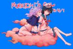 2girls anchor anchor_symbol barefoot black_hair blue_background blue_hair blush clouds commentary_request dated green_eyes hat hood hood_down kumoi_ichirin looking_at_another meimaru_inuchiyo multiple_girls murasa_minamitsu romaji sailor_collar short_sleeves sitting sitting_on_cloud smile touhou white_hat wide_sleeves