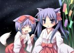 hiiragi_kagami hiiragi_tsukasa japanese_clothes long_hair lucky_star miko purple_hair short_hair six_alchemy tail tekehiro twintails