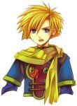 blonde_hair blue_eyes golden_sun isaac_(golden_sun) natsuki_sao open_mouth robin_(golden_sun) scarf short_hair