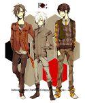 argyle bad_id blazer boots brown_hair fashion jacket jeans male necktie red_eyes shoes short_hair striped sweater todoroki_sora vest white_hair wink