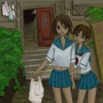 brown_eyes brown_hair dark_skin groceries laundry lowres midriff sayonara_zetsubou_sensei school_uniform sekiutsu_maria_taro sekiutsu_maria_tarou serafuku short_hair stairs