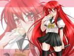 1024x768 bread bread_in_mouth food long_hair melon_bread meronpan red_eyes red_hair redhead school_uniform serafuku shakugan_no_shana shana solo sword thigh-highs thighhighs wallpaper weapon zoom_layer
