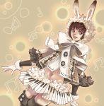 boots bow brown_hair bunny_ears gloves hair_ornament hairpin happy hoodie midriff noja original piano piano_print rabbit_ears short_hair skirt smile