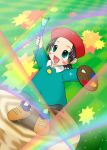 adeleine art_brush beret blush child dress happy hat kirby kirby_(series) kirby_64 lowres nintendo paintbrush palette pallete rainbow rainbows smile sparkle sparkles star starburst stump tree_stump
