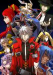 4girls 5boys amane_nishiki androgynous armor azrael_(blazblue) bare_shoulders belt blazblue blazblue:_chrono_phantasma blonde_hair blue_hair breasts bullet_(blazblue) cape cleavage crop_top dark_skin detached_sleeves eyeshadow facial_hair fedora fingerless_gloves gauntlets ggrock gloves goatee gothic_lolita green_eyes green_hair grin hair_ornament hair_ribbon hair_tubes half_updo hat hazama heterochromia izayoi_(blazblue) jacket japanese_clothes jin_kisaragi large_breasts lolita_fashion long_hair makeup multiple_boys multiple_girls navel necktie noel_vermillion ponytail purple_hair rachel_alucard ragna_the_bloodedge red_eyes redhead ribbon scar short_hair silver_hair skirt smile sword trap twintails weapon white_hair wink yellow_eyes