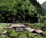 after_school buildings grass house nature original power_lines scenery school_uniform serafuku sky tractor tree trees yamaada