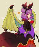 1girl animal_ears artist_name bat_ears dragon_wings dress fake_animal_ears fire_emblem fire_emblem:_seima_no_kouseki fire_emblem_heroes from_side fur_trim halloween_costume highres long_sleeves looking_to_the_side mamkute multi-tied_hair myrrh nintendo parted_lips purple_hair red_eyes sasaki_(dkenpisss) simple_background solo twintails wings