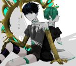 2others androgynous back-to-back blue_eyes blue_hair broken copyright_name crack crystal_hair dual_persona gem_uniform_(houseki_no_kuni) golden_arms green_hair hair_over_eyes heterochromia houseki_no_kuni looking_at_viewer missing_limb multiple_others necktie phosphophyllite phosphophyllite_(ll) shiyuma_(yumoyumoyumoyumo1213) short_hair sitting spoilers torn_clothes white_eyes white_skin