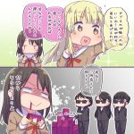 2koma 5girls :d =3 ayasaka bang_dream! bangs black_hair blonde_hair blood blood_from_mouth bodyguard comic commentary_request empty_eyes gift_card hair_ornament hairclip hanasakigawa_school_uniform hand_on_own_chest heart heart_in_mouth itunes jitome long_hair long_sleeves medium_hair multiple_girls neck_ribbon okusawa_misaki open_mouth outstretched_hand paint_splatter red_neckwear ribbon sailor_collar shaded_face smile sparkle sunglasses translation_request tsurumaki_kokoro v-shaped_eyebrows white_sailor_collar yellow_eyes