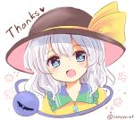 blue_eyes blush commentary_request crystal english eyebrows_visible_through_hair flower hat heart highres komeiji_koishi one_eye_closed open_mouth ramudia_(lamyun) short_hair silver_hair simple_background smile third_eye touhou twitter_username upper_body white_background