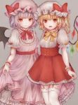 2girls :d adapted_costume bat_wings bebitera blonde_hair bow center_frills closed_mouth crystal dress eyebrows_visible_through_hair fangs flandre_scarlet frilled_sleeves frills garter_straps grey_background hat hat_ribbon highres lavender_hair long_dress looking_at_viewer mob_cap multiple_girls neck_ribbon one_side_up open_mouth petticoat pinafore_dress pink_dress puffy_short_sleeves puffy_sleeves red_bow red_dress red_eyes red_neckwear red_ribbon remilia_scarlet ribbon short_dress short_hair short_sleeves siblings simple_background sisters skirt_hold smile standing thigh-highs touhou underbust white_legwear wings wrist_cuffs yellow_neckwear