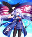 1girl azur_lane bird blue_hair bubble commentary_request eagle essex_(azur_lane) fingerless_gloves flag gloves jacket long_hair looking_at_viewer mikoto_(mikoto_r_a) necktie pantyhose red_eyes sleeveless star twintails
