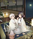 2girls 80mph ahoge architecture bamboo black_hair cup dango east_asian_architecture folded_ponytail food gohei green_eyes hair_ornament hair_ribbon hairclip hand_on_another's_thigh itomi_sayaka japanese_clothes katana kimono lantern long_hair maple_tree mat moon multiple_girls night night_sky obi ribbon sakazuki sanbou sash sheath sheathed short_hair sky sliding_doors susuki_grass sword tatami toji_no_miko tree tsukimi tsukimi_dango violet_eyes wagashi weapon white_hair wooden_floor yanase_mai