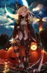 1girl alternate_costume asymmetrical_legwear azur_lane bangs black_gloves black_legwear bow cape cleveland_(azur_lane) crescent_moon devil_fever_(azur_lane) fang fingerless_gloves full_body glint gloves halloween hat highres holding holding_scythe long_hair looking_at_viewer moon night one_side_up open_mouth outdoors peaked_cap pointy_ears pumpkin sakusyo scythe short_shorts shorts sidelocks sitting sky smile star star_(sky) star_print starry_sky thigh-highs water