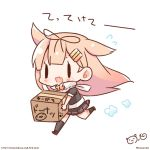 1girl :d bow box cardboard_box carrying chibi commentary_request hair_bow hair_flaps hair_ornament hair_ribbon hairclip kantai_collection light_brown_hair long_hair looking_at_viewer momoniku_(taretare-13) open_mouth pleated_skirt remodel_(kantai_collection) ribbon running scarf school_uniform serafuku simple_background skirt smile solo translation_request white_background yuudachi_(kantai_collection)
