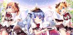 3girls :d ;q blonde_hair blue_eyes blue_hair bowl coffee_cup commentary_request confetti cup disposable_cup eyebrows_visible_through_hair frilled_skirt frills gochuumon_wa_usagi_desu_ka? hair_between_eyes hat hoto_cocoa in_bowl in_container index_finger_raised kafuu_chino kirima_sharo long_hair looking_at_viewer multiple_girls one_eye_closed open_mouth puffy_short_sleeves puffy_sleeves red_neckwear sasai_saji short_hair short_shorts short_sleeves shorts skirt smile spoon tippy_(gochiusa) tongue tongue_out twintails uneven_twintails uniform violet_eyes waitress wrist_cuffs