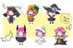 6+girls bat candy chibi closed_eyes closed_mouth dango_2go demon_horns demon_tail dress fa facial_mark fang fire_emblem fire_emblem:_fuuin_no_tsurugi fire_emblem_heroes food forehead_mark halloween_basket halloween_costume hat highres horns jack-o'-lantern jiangshi long_sleeves mamkute multiple_girls multiple_persona nintendo ofuda open_clothes open_mouth open_robe outstretched_arms pointy_ears pumpkin_hat purple_hair robe short_hair sleeves_past_fingers sleeves_past_wrists spread_arms star tail white_hat witch_hat