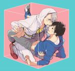 2boys black_hair blue-framed_eyewear blue_eyes blush box brown_eyes eye_contact eyewear_removed glasses hood hoodie in_box in_container katsuki_yuuri kuroemon looking_at_another male_focus mouth_hold multiple_boys shoes silver_hair sneakers viktor_nikiforov yaoi yuri!!!_on_ice
