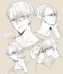 !! 2boys adjusting_eyewear bespectacled blue_eyes blush brown_eyes chin_rest eye_contact glasses jewelry katsuki_yuuri kuroemon looking_at_another male_focus monochrome multiple_boys noses_touching ring spot_color upper_body viktor_nikiforov yaoi yuri!!!_on_ice