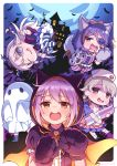ahoge alternate_costume animal_ears bandage bat bat_wings blanket braid brown_eyes brown_hair cape doseki_udon eyepatch fang ghost grey_eyes grey_hair hair_ornament hair_ribbon hairclip hat hayasaka_mirei highres hood hoshi_shouko idolmaster idolmaster_cinderella_girls idolmaster_cinderella_girls_starlight_stage koshimizu_sachiko long_hair mansion moon morikubo_nono nurse nurse_cap polearm purple_hair ribbon shaded_face sparkle stitches striped striped_legwear sweatdrop syringe tail trident vertical_stripes weapon wings wolf_ears wolf_paws wolf_tail zombie