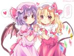 2girls bat_wings blonde_hair blush bow commentary_request dress eyebrows_visible_through_hair flandre_scarlet hat heart highres lavender_hair multiple_girls ramudia_(lamyun) red_bow red_eyes red_neckwear remilia_scarlet short_hair siblings simple_background sisters speech_bubble spoken_blush spoken_heart touhou twitter_username white_background wings yellow_neckwear
